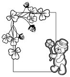 Outline  frame with shamrock contour and teddy bear. Raster clip. Contour frame with shamrock, teddy bear. Copy space. Raster clip art Stock Photo