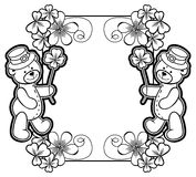 Outline  frame with shamrock contour and teddy bear. Raster clip. Contour frame with shamrock, teddy bear. Copy space. Raster clip art Royalty Free Stock Image
