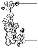 Outline  frame with shamrock contour and teddy bear. Raster clip. Contour frame with shamrock, teddy bear. Copy space. Raster clip art Royalty Free Stock Photography