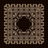 Outline frame with swirls. Mono line graphic design templates. Gold on a dark background. Stock Image