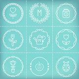 Outline Frames, Icons, Signs and Elements for Creating Labels, Logos, Stamps, Badges, Monograms and Banners. Gardening and Cooking Royalty Free Stock Images