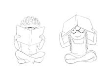 Outline funny kids reading books for coloring Royalty Free Stock Image
