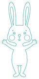 Outline funny rabbit. Funny Outline rabbit - contour illustration Royalty Free Stock Image