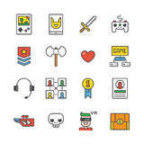 Outline Gamer Icons Royalty Free Stock Photography