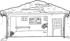 Outline of Garage with Snow on Roof Stock Photo