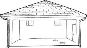 Outline of Garage with Stains on Floor Stock Photos