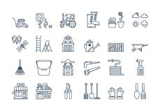 06 Outline GARDENING HARVESTING icons set. Vector set of 24 linear outline icons. Gardening harvesting isolated pictogram. Lawnmower, bucket,shovel, wheelbarrow Stock Images