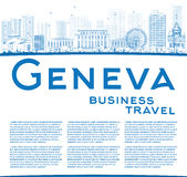 Outline Geneva skyline with blue landmarks and copy space. Stock Photos