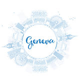Outline Geneva skyline with blue landmarks and copy space. Stock Image