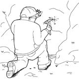 Outline of Geologists Collecting Specimen. Outline cartoon of geologist with rock hammer collecting specimens Royalty Free Stock Photography