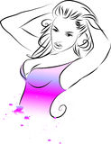 Outline girl Stock Images