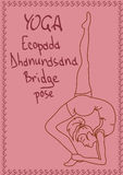 Outline girl in Bridge yoga pose Stock Image