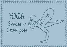 Outline girl in Crane yoga pose Stock Images