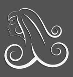 Outline girl curly hair cut out 3d Stock Image