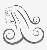 Outline girl curly hair cut out. Outline illustration of young woman with long curly hair cut out of paper with realistic shadow Royalty Free Stock Images
