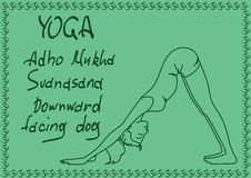 Outline girl in Downward Facing Dog yoga pose Royalty Free Stock Images
