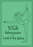 Outline girl in Lord of the Dance yoga pose Stock Photos