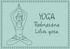 Outline girl in Lotus yoga pose Stock Image