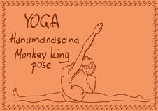Outline girl in Monkey King yoga pose Stock Images