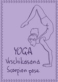 Outline girl in Scorpion yoga pose. Illustration with outline slim girl in Scorpion yoga pose Stock Photography