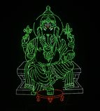 Lord Ganapathi - portrayed by LED lights in dark background royalty free stock image