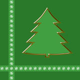 Outline of golden christmas tree on green Stock Images