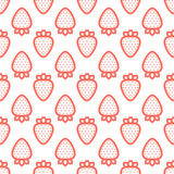 Outline graphic style strawberry seamless vector pattern white Royalty Free Stock Photography