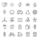 Outline gray eco icons vector set. Minimalistic style. Royalty Free Stock Photo