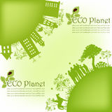 Outline of green houses from trees. Green ecological planet. people, houses, trees royalty free illustration