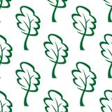 Outline green trees seamless pattern Stock Photography