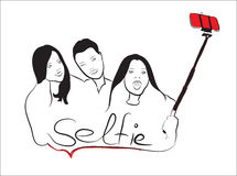 Outline group girls by selfi Royalty Free Stock Photo