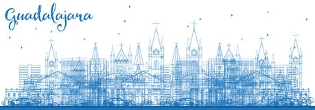 Outline Guadalajara Mexico City Skyline with Blue Buildings. Vector Illustration. Business Travel and Tourism Concept with Historic Architecture. Guadalajara Stock Photos