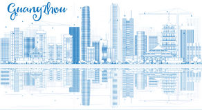 Outline Guangzhou Skyline with Blue Buildings and Reflections. Royalty Free Stock Images
