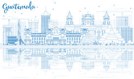 Outline Guatemala Skyline with Blue Buildings and Reflections. Vector Illustration. Business Travel and Tourism Concept with Modern Architecture. Image for royalty free illustration