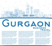 Outline Gurgaon India City Skyline with Blue Buildings and Copy vector illustration