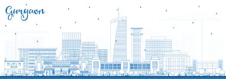 Outline Gurgaon India City Skyline with Blue Buildings. vector illustration