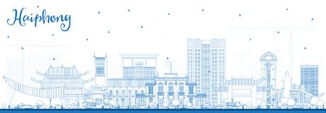 Outline Haiphong Vietnam City Skyline with Blue Buildings. Vector Illustration. Business Travel and Tourism Concept with Historic Architecture. Haiphong vector illustration