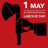 Outline Hand with axe international labour day Royalty Free Stock Image