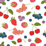 Outline hand drawn color seamless berry pattern (flat style, thi Stock Images
