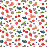 Outline hand drawn color seamless berry pattern (flat style, thi Stock Photography
