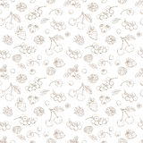 Outline hand drawn seamless berry pattern (flat style, thin line Royalty Free Stock Photo