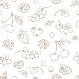Outline hand drawn seamless berry pattern (flat style, thin line Stock Photos
