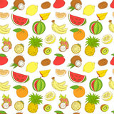 Outline hand drawn seamless colorfull fruit pattern (flat style, Royalty Free Stock Photo