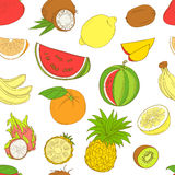 Outline hand drawn seamless colorfull fruit pattern (flat style, Royalty Free Stock Image