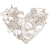 Outline hand drawn sketch of vegetable heart (flat style, thin Stock Photos