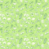 Outline hand drawn vegetable pattern (flat style, thin  line) Royalty Free Stock Photos