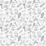 Outline hand drawn vegetable pattern (flat style, thin  line) Royalty Free Stock Photo