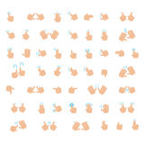 Outline Hand Finger Gesture Vector Icon Set Stock Images