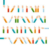 Outline hand finger gesture vector icon set Stock Photography