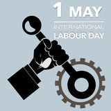 Outline Hand with lever international labour day Stock Images